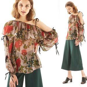 Topshop Floral off the shoulder blouse size 6